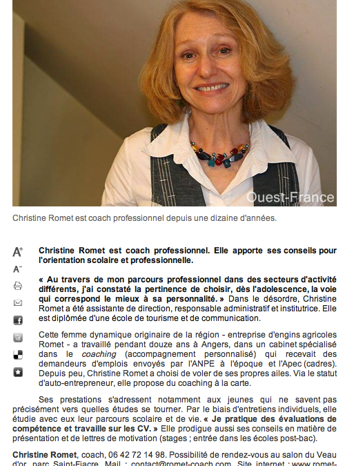 Article Ouest-France – 09 avril 2011